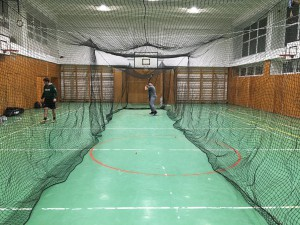 Indoor batting cage instalation